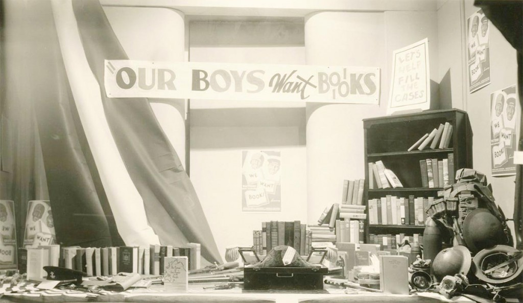 Patriotic window displays advertising the Victory Book Campaign were common.  Many stores collected donations.  Shoppers could leave their books in drop boxes inside department stores, movie theaters, libraries, firehouses, beauty salons, and bus and train depots.