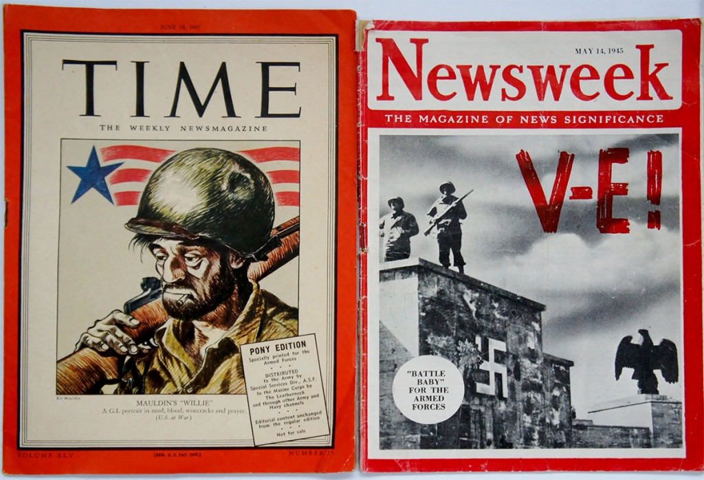 "To suit the needs of servicemen on the front lines, some American magazines printed special ""overseas editions.""   Time produced a ""Pony Edition"" and Newsweek printed a ""Battle Baby""—both were roughly 6 by 8 inches, they contained no advertisements, and were printed on paper similar to newsprint.  They were small, lightweight, and extremely popular."