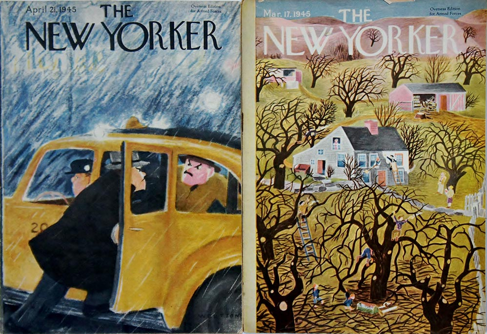 The New Yorker also produced small-sized versions of its magazine for American troops.  They were approximately 6 by 8.5 inches, contained no advertisements, and were printed on lightweight paper.