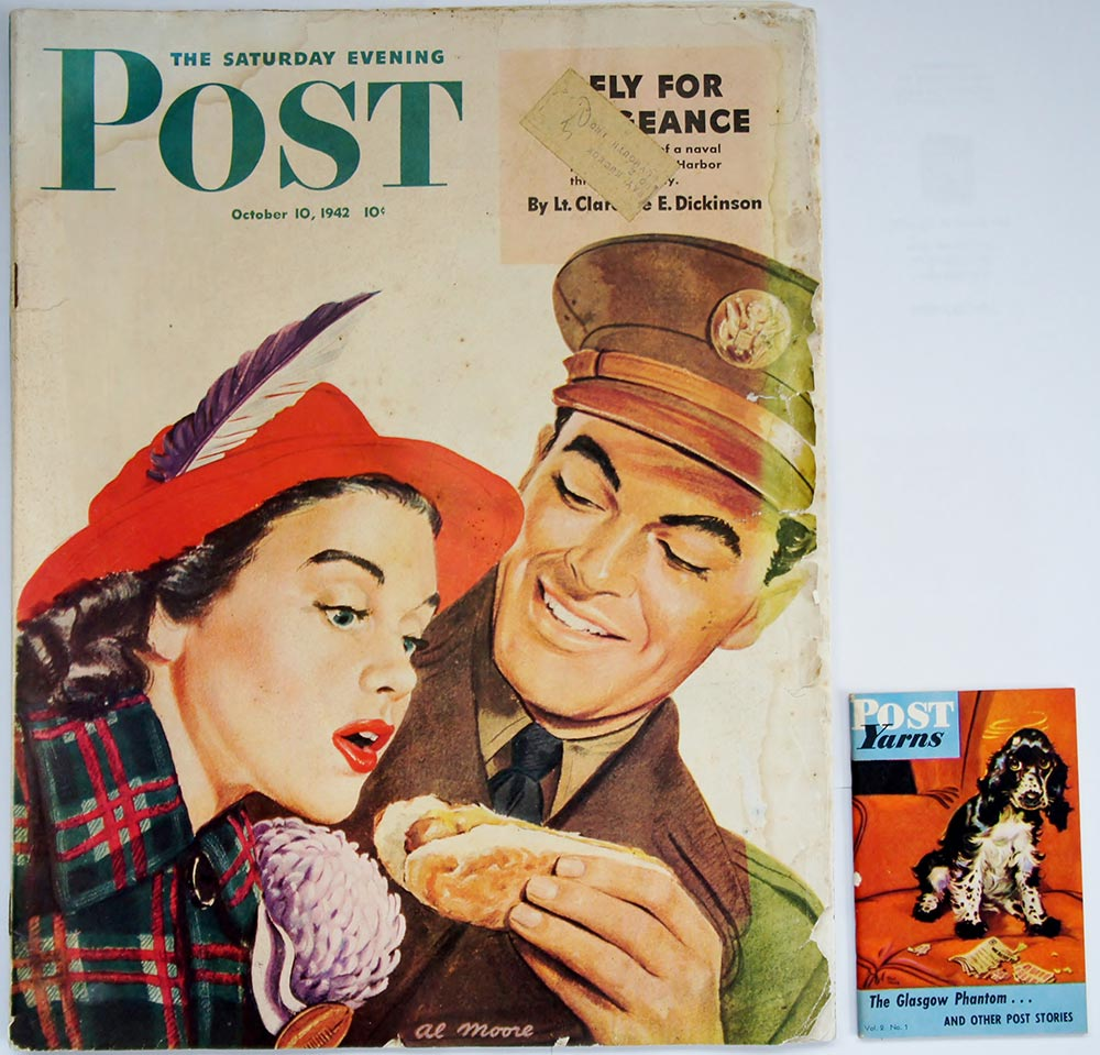 Comparing a Post Yarn to a full-sized Saturday Evening Post, you can see how the Yarns were much more practical for men on the move near the fronts.  With such conveniently-sized reading material, men read everywhere.  The success of the overseas miniature magazines caused the Army and Navy to explore their options when it came to books.