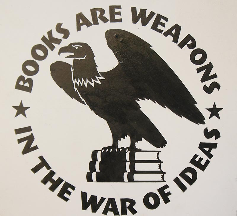 "In 1942, a group of publishers formed the Council on Books in Wartime, adopting the slogan ""Books Are Weapons in the War of Ideas.""  They brainstormed on how books could be used to help win the war and ultimately decided to print special paperbacks for soldiers, sailors, and marines.  These paperbacks, like the miniature magazines, would be pocket-sized and lightweight so troops could carry their reading material anywhere.  The Council's books were called Armed Services Editions."