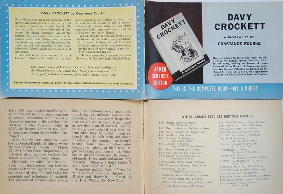 "The Armed Services Editions were unlike any other book.  They were printed in two small sizes, bound on their ""short side,"" and used paper slightly sturdier than newsprint.  The front cover of each Armed Services Edition had a thumbnail image of the hardcover dust jacket.  The back cover provided a brief synopsis of the book.  The inside back cover listed all of the books printed that month.  And the interior pages had two columns of text per page.  It was believed that it would be easier for soldiers to read shorter columns of text in bad lighting and when under stress.  This format also enabled publishers to squeeze more words onto each page."