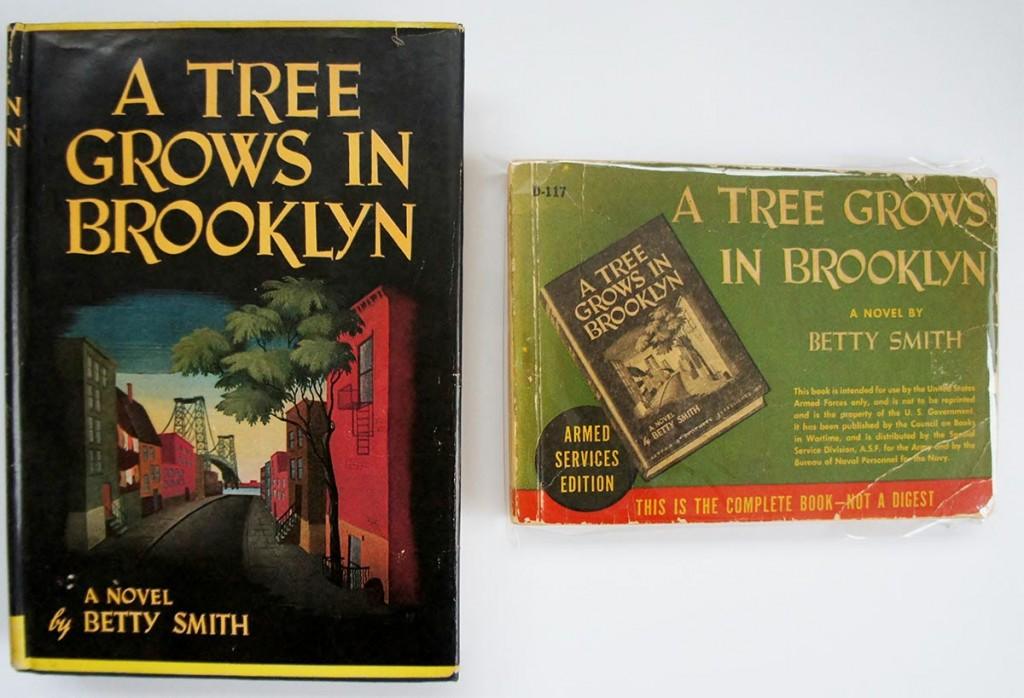 Here, you can compare the hardcover edition of Betty Smith's A Tree Grows in Brooklyn and the smaller paperback Armed Services Edition.  The Armed Services Edition was smaller and much lighter.