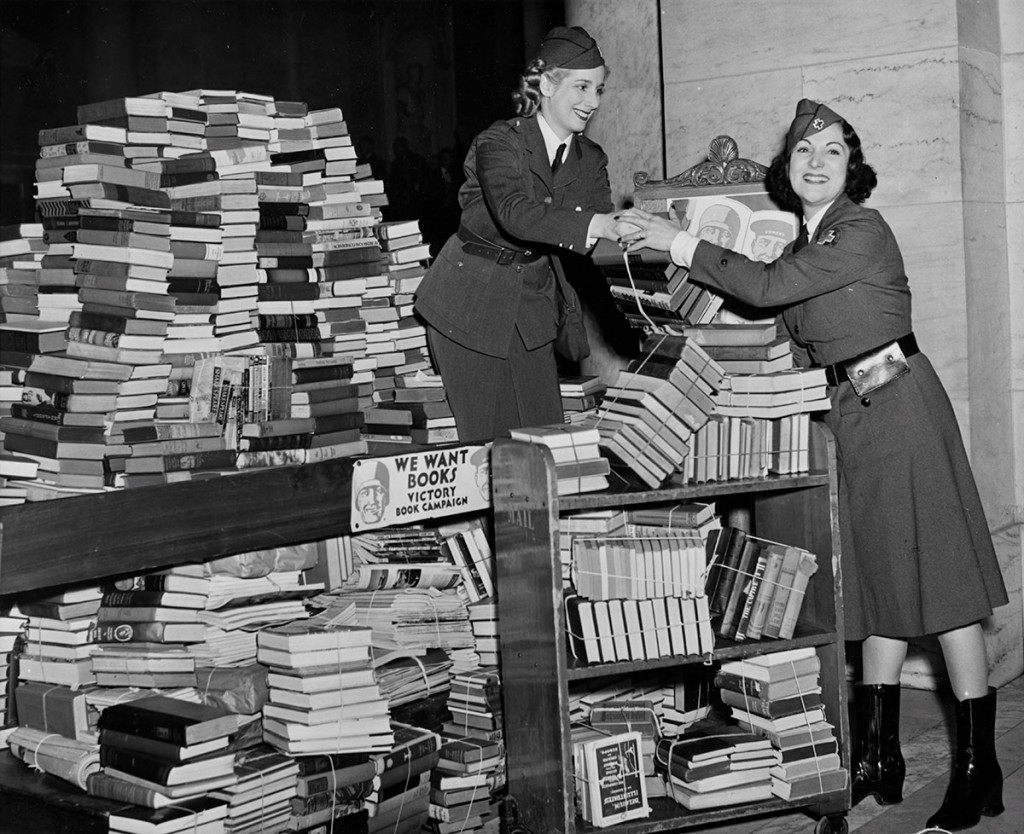 American librarians fought against Germany's destruction of books.  They urged Americans to read to arm their minds against intolerance and hate.  Once conscription began, they organized the largest book drive in history to supply training camps with books for their libraries.   Photo Credit: Manuscripts and Archives Division, New York Public Library, Astor, Lenox and Tilden Foundations