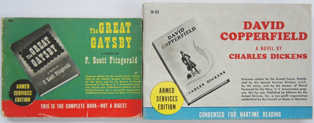 "The Armed Services Editions came in two sizes:  the larger were 6.5 by 4.5 inches, and the smaller were 5.5 by 3 and 3/8 inches.  A handful of books were condensed in order to be small enough to fit within a pocket.  As you can see (on the bottom front cover), David Copperfield was ""condensed for wartime reading.""  Still, it was the longest Armed Services Edition, coming in at 512 pages.  The Great Gatsby, on the other hand, was ""the complete book—not a digest.""  Some Armed Services Editions were so small that many people assumed they were condensed when they were not."