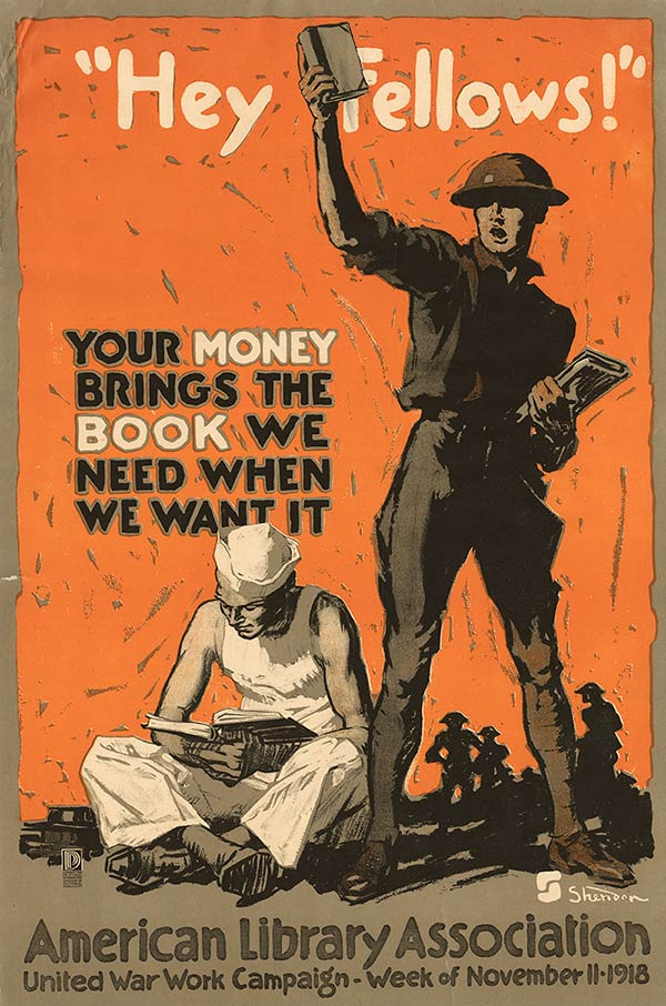 During World War I, the American Library Association publicized the importance of books in wartime.   It collected money to buy books for American soldiers, and also hosted a book drive, gathering books to send to training camps.  Over one million books were donated.